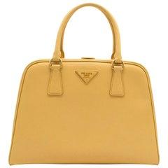 Prada Pyramid Canary Yellow Top Handle Bag