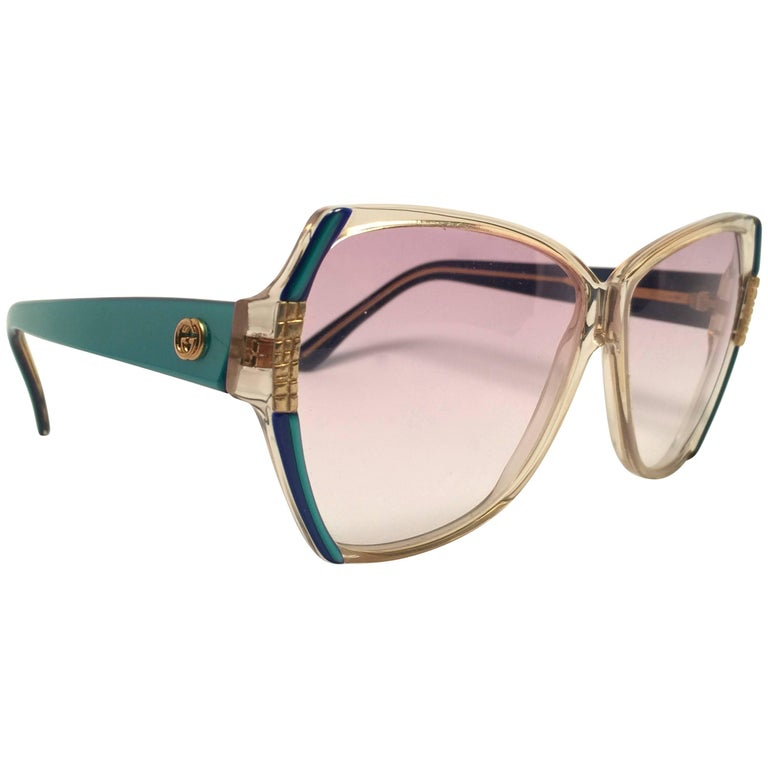 New Vintage Gucci GG  Translucent Oversized Sunglasses 1980's Made in Italy