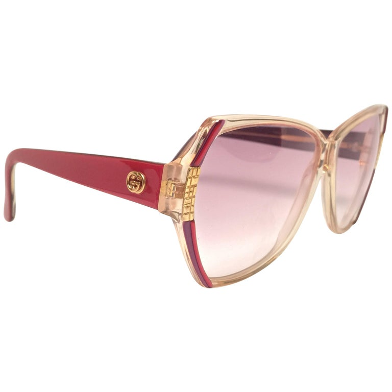 New Vintage Gucci GG  Translucent Red Oversized Sunglasses 1980's Made in Italy