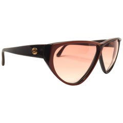 New Vintage Gucci GG  Brown & Amber Sunglasses 1980's Made in Italy