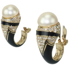 1980's Ciner Black Enameled Earrings With Faux Pearl & Rhinestones