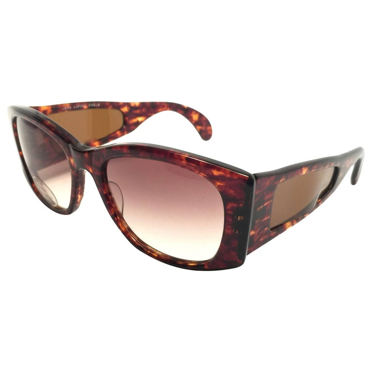 New Vintage Jean Lafont Tortoise Mask Sunglasses 1980's Made in Italy