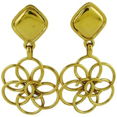 Chanel Vintage Gold Toned CC Flower Dangling Earrings