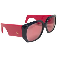 New Vintage Valentino 543 Red Mask Sunglasses 1980's Made in Italy