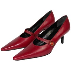 1980s Roberta Di Camerino Red Leather Hells Pumps Shoes