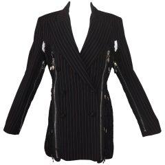 F/W 1989 Jean Paul Gaultier Pinstripe Zipper Cut-out Blazer Jacket Dress