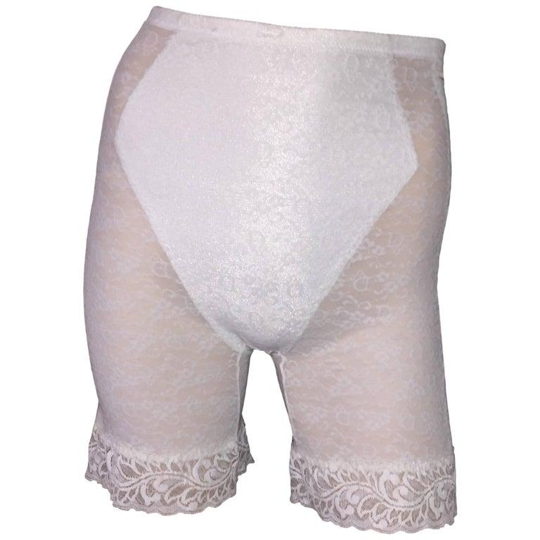 1990's Christian Dior Pin-Up Sheer Ivory Monogram Mesh & Lace High Waist Shorts