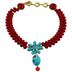 Yves Saint Laurent YSL Multicolored Glass Necklace