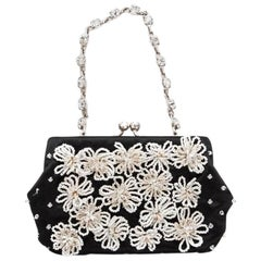 Valentino Small Evening Bag in Black Silk Satin with Pearls and Brilliants