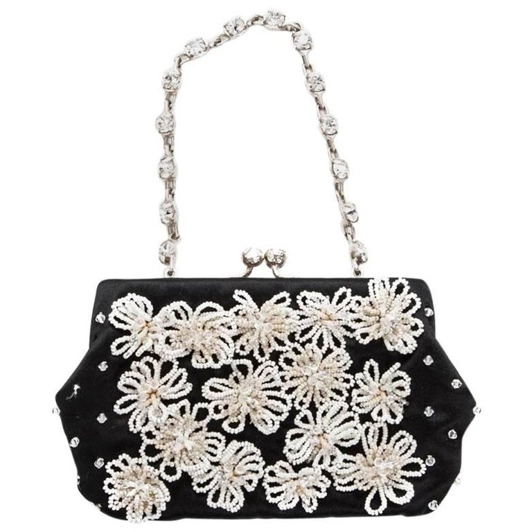 Valentino Small Evening Bag in Black Silk Satin with Pearls and Brilliants For Sale