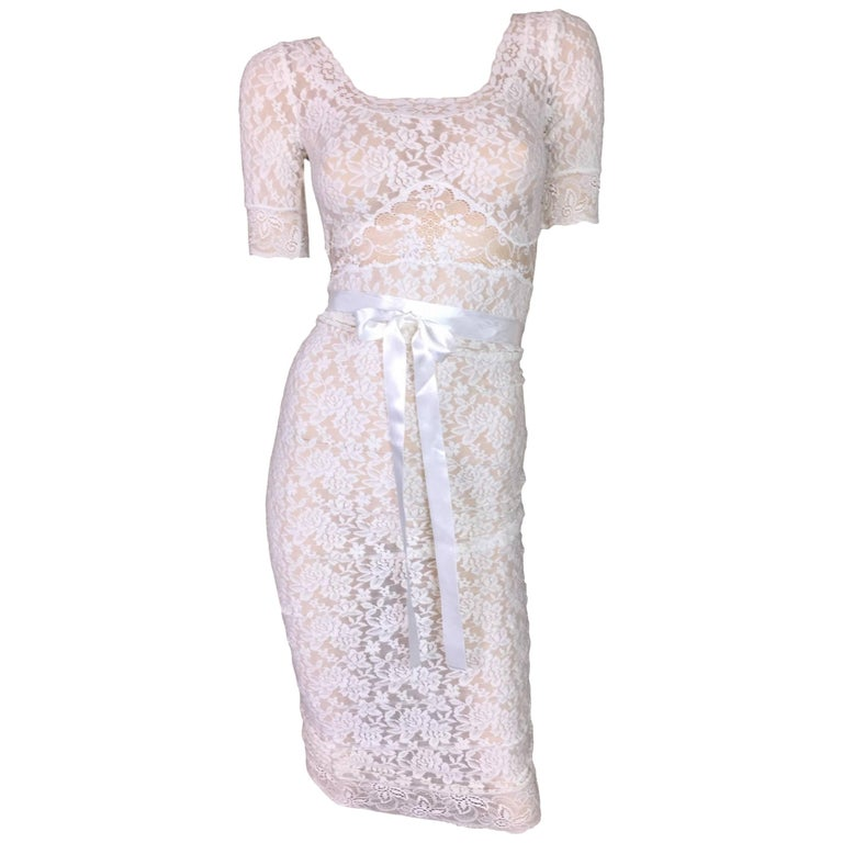 S/S 2005 D&G by Dolce & Gabbana Sheer Ivory Lace Wiggle Dress 24/38