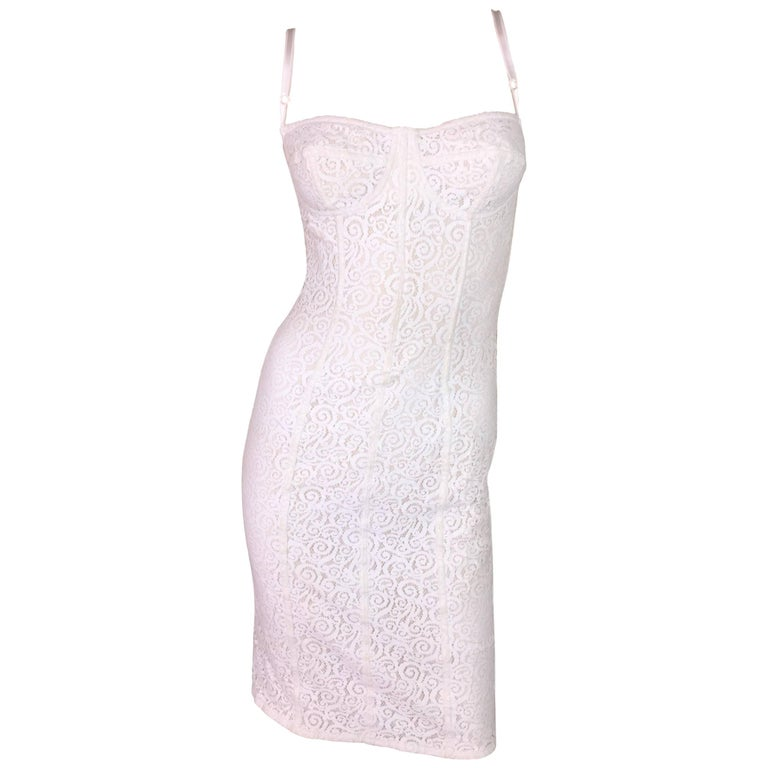 2005 Dolce & Gabbana Sheer Ivory Lace Wiggle Bra Dress S