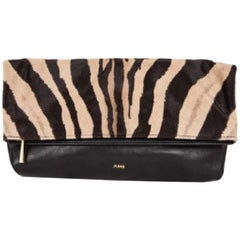 EMILIO PUCCI Clutch in Black Leather and Goat Leather with Zebra Pattern
