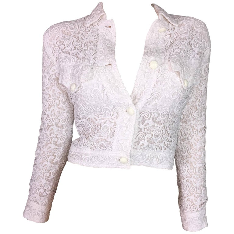 S/S 1994 Gianni Versace Sheer White Lace Cropped Short Jacket 38