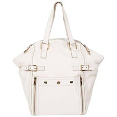 YSL YVES SAINT LAURENT Down Town Bag in Beige Grained Leather