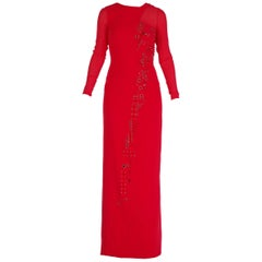 New Versace red silk embellished gown with long sleeves