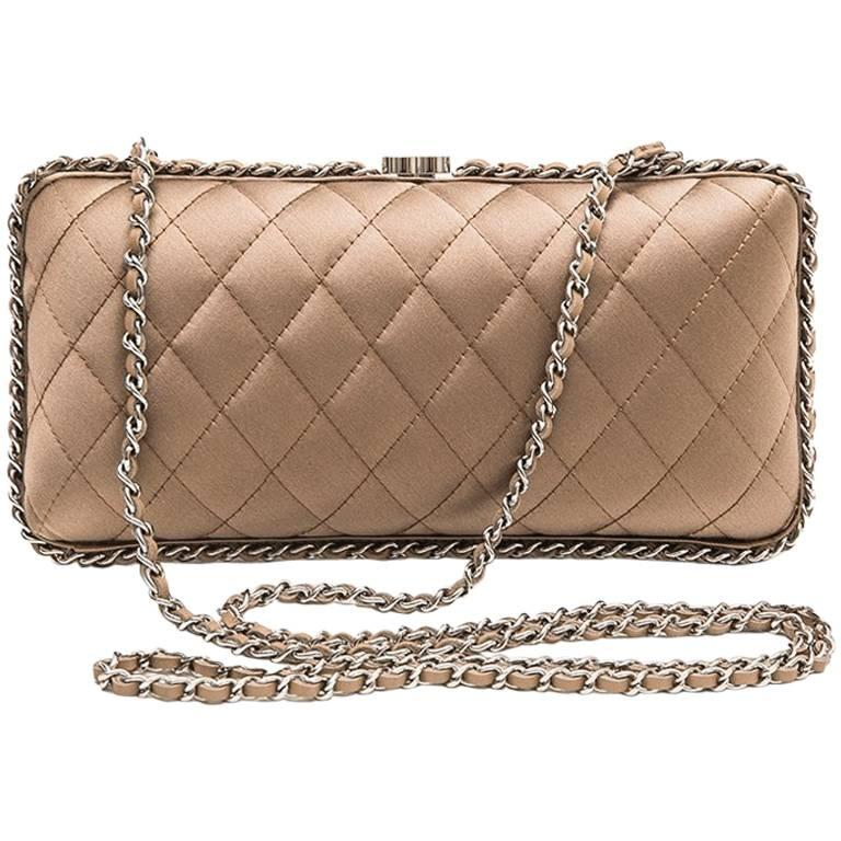Chanel Evening Clutch In Quilted Golden Beige Silk Satin For