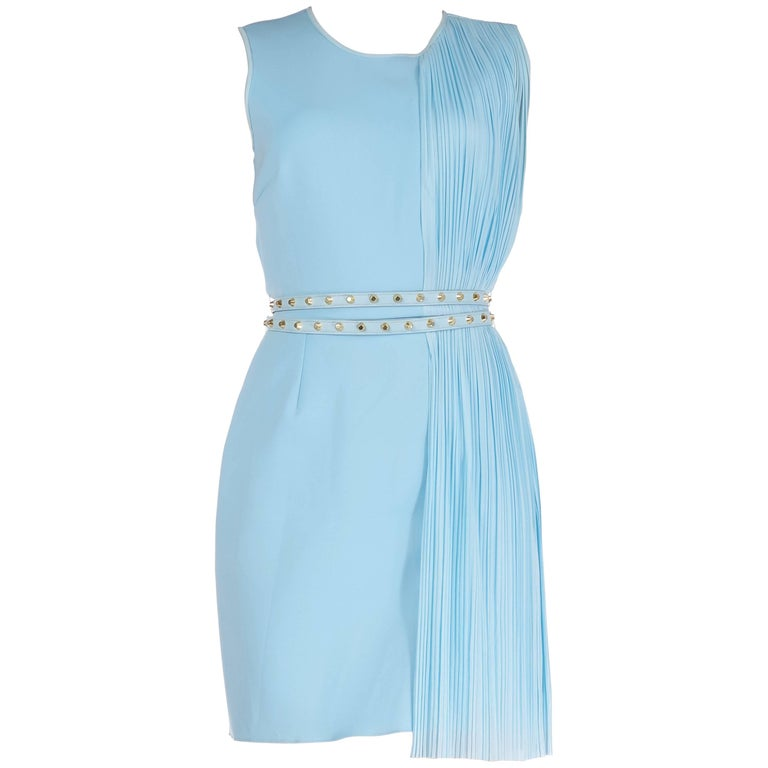 Versace Look #24 Blue Plisse-Panel Belted Dress, S/S 2012