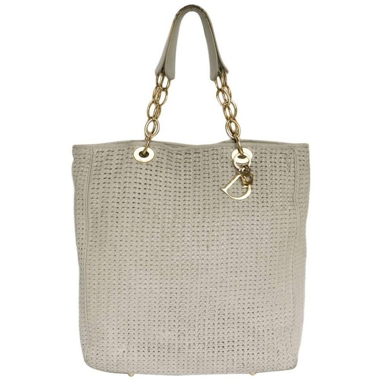 CHRISTIAN DIOR Tote Bag in Beige Leather