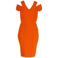 New Versace Stretch Knit Orange Dress