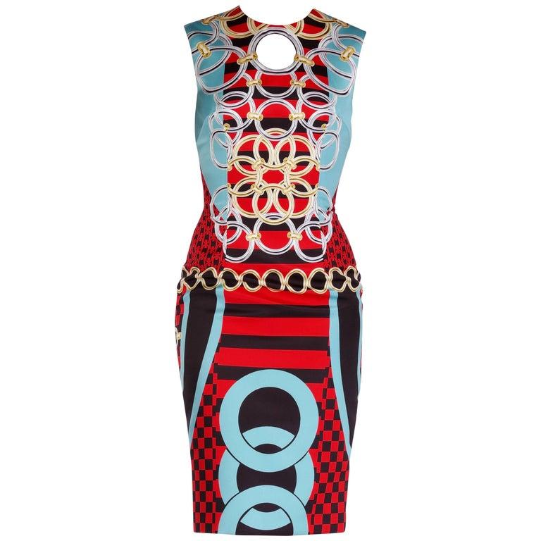 New Versace optical chain print dress