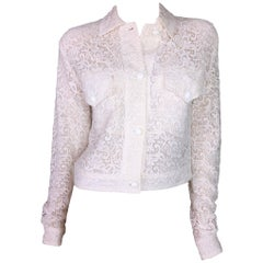 S/S 1994 Gianni Versace Sheer Ivory Lace Short Jacket 42
