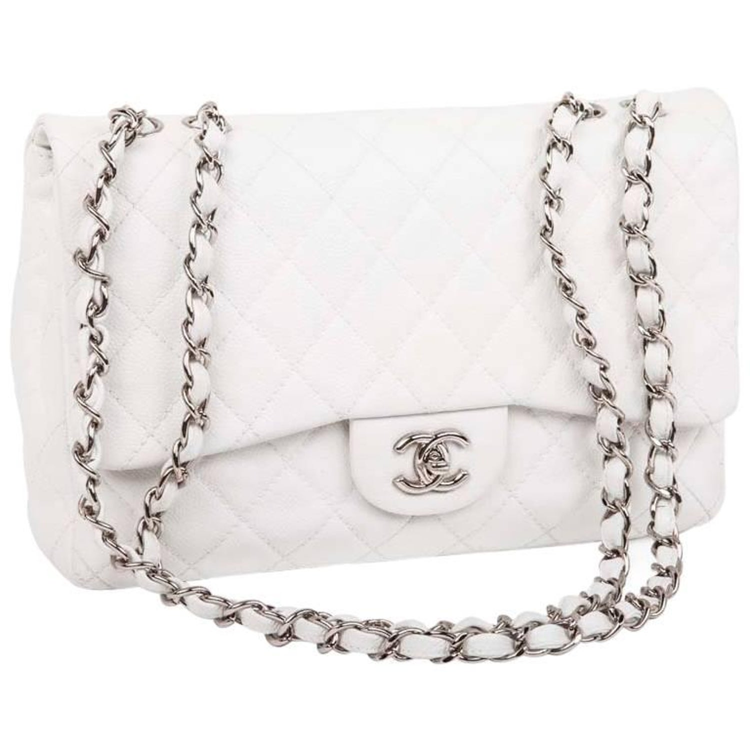 7b0c81f33a8b Chanel Jumbo Bag in White Grained Leather at 1stdibs