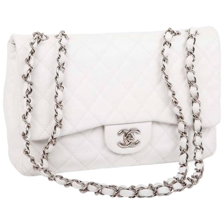 Chanel Jumbo Bag in White Grained Leather