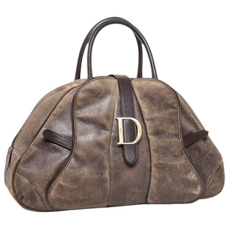 CHRISTIN DIOR 'Saddle Bowling' Bag in Aged Patinated Beige and Brown Leather