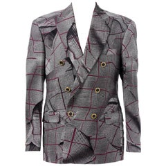 BRAND NEW VERSACE DOUBLE BREASTED WINDOWPANE TAILOR MADE SUIT for MEN