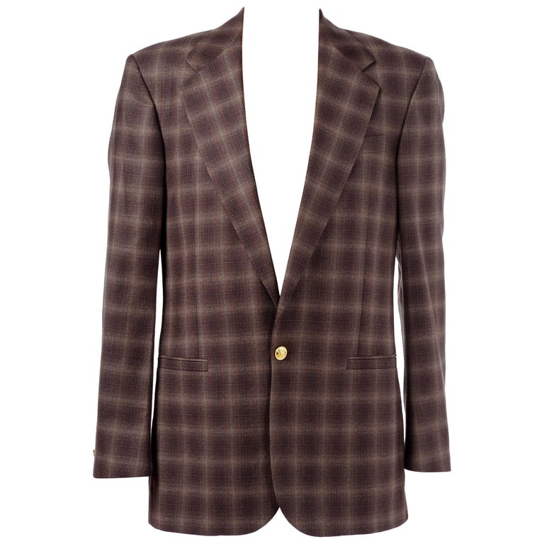 BRAND NEW VERSACE PLAID WOOL BROWN SUIT  for MEN