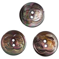 Chanel Iridescent Three CC Glass 18mm Buttons