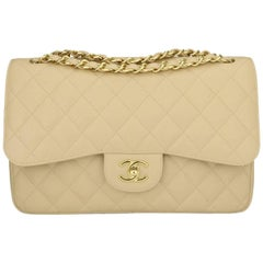 Chanel Jumbo Double Flap Beige Clair Caviar with Gold Hardware, 2012