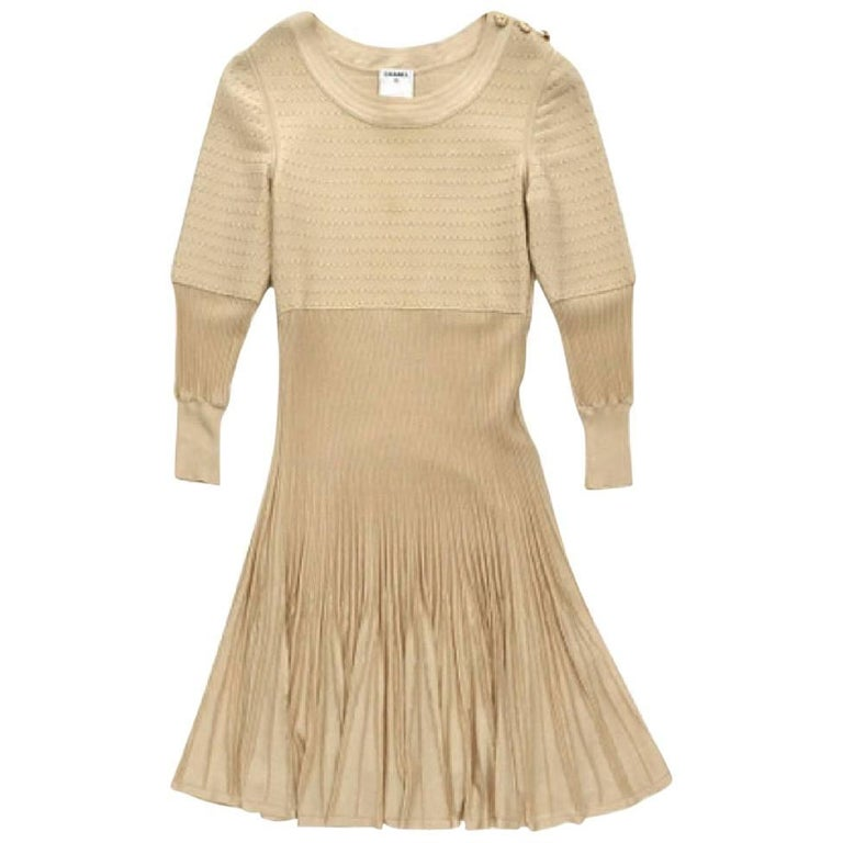 CHANEL Dress in Beige Viscose and Stretch silk Size 34FR