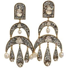 Shourouk Pierced Glitter, Pearl, and Crystal Statement Earrings