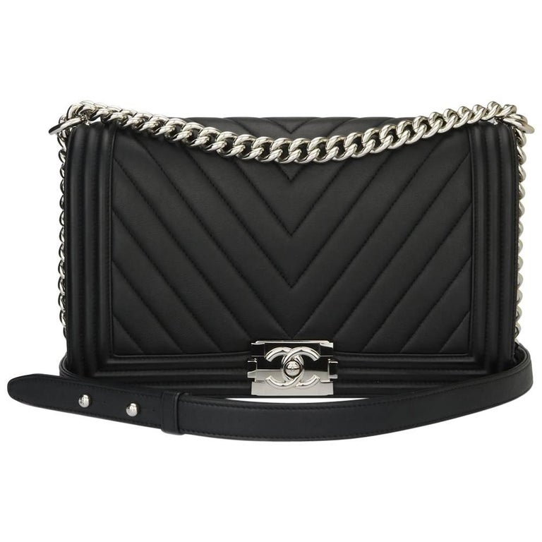 f29a6c638ed3 Chanel New Medium Chevron Boy Black Calfskin with Shiny Silver Hardware  2016 For Sale