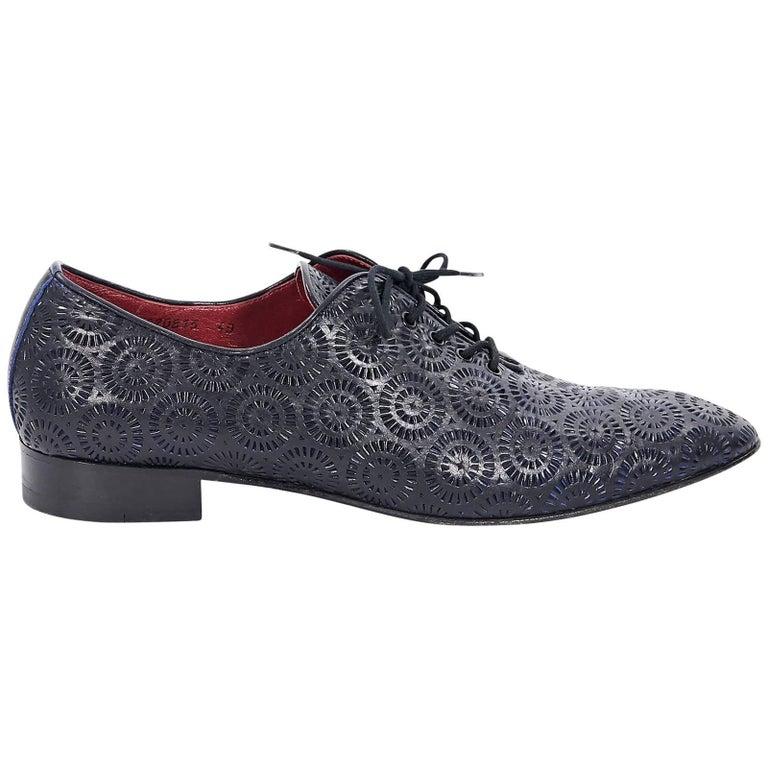 Black Cesare Paciotti Laser Cut Leather Shoes