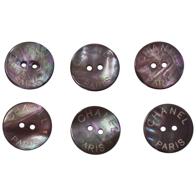 Chanel Iridescent CHANEL PARIS Glass 18mm Buttons