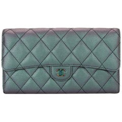 CHANEL Purple Iridescent Goatskin Flap Wallet with Rainbow Hardware 2016
