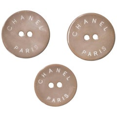 Chanel Taupe CHANEL PARIS Glass Buttons 18mm/22mm
