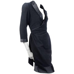 CHANEL Dress in Black Wool and Silk Size 42FR