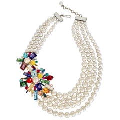 Philippe Ferrandis Glass Pearl and Double Crystal Motif Necklace