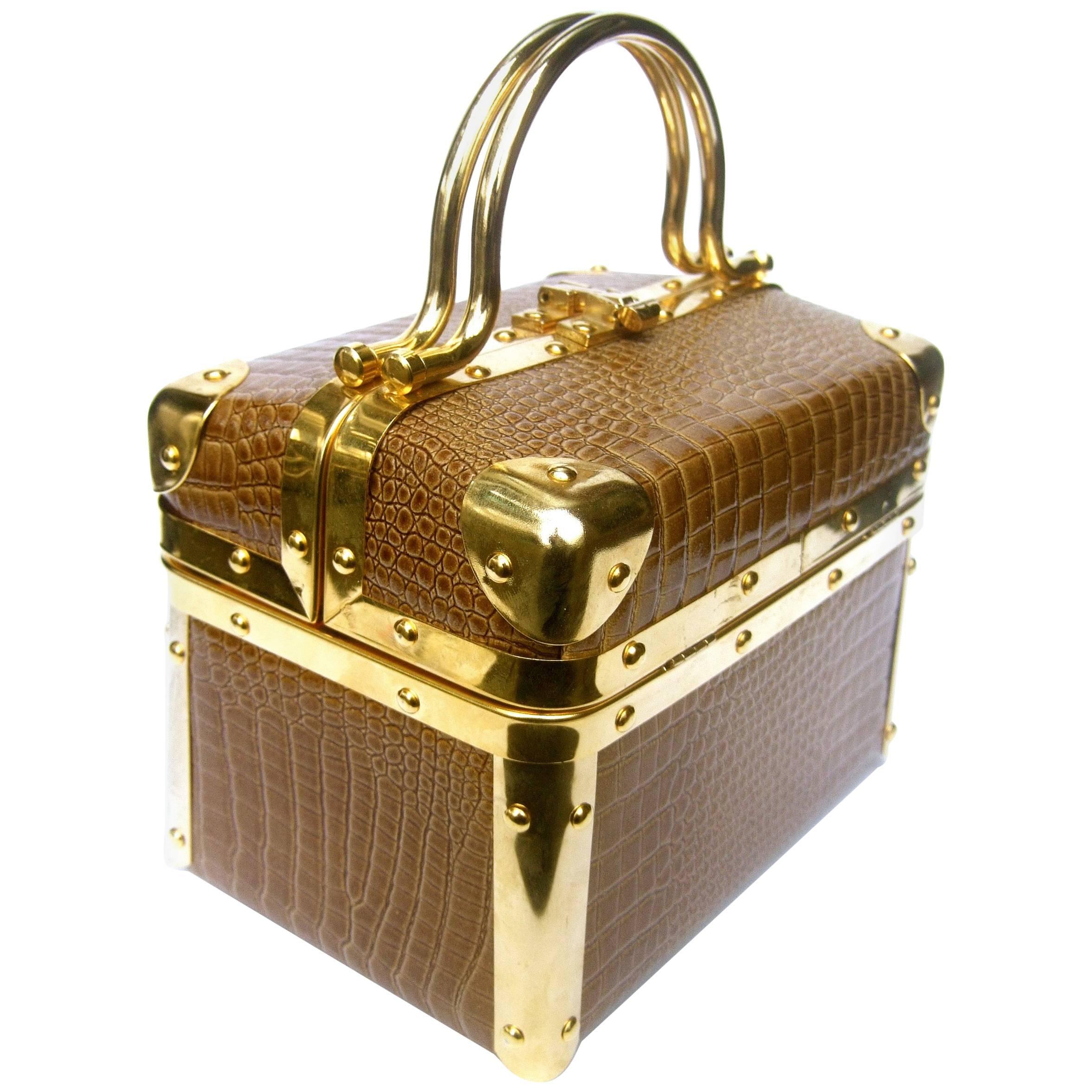 1stdibs Borsa Bella Italy Gold Metallic Embossed Box Purse C 1980s dMnPJF