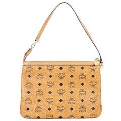 Tan MCM Visetos Leather Shoulder Bag
