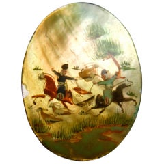 Hand Painted Artisan Mother of Pearl Warrior Scene Brooch c 1960