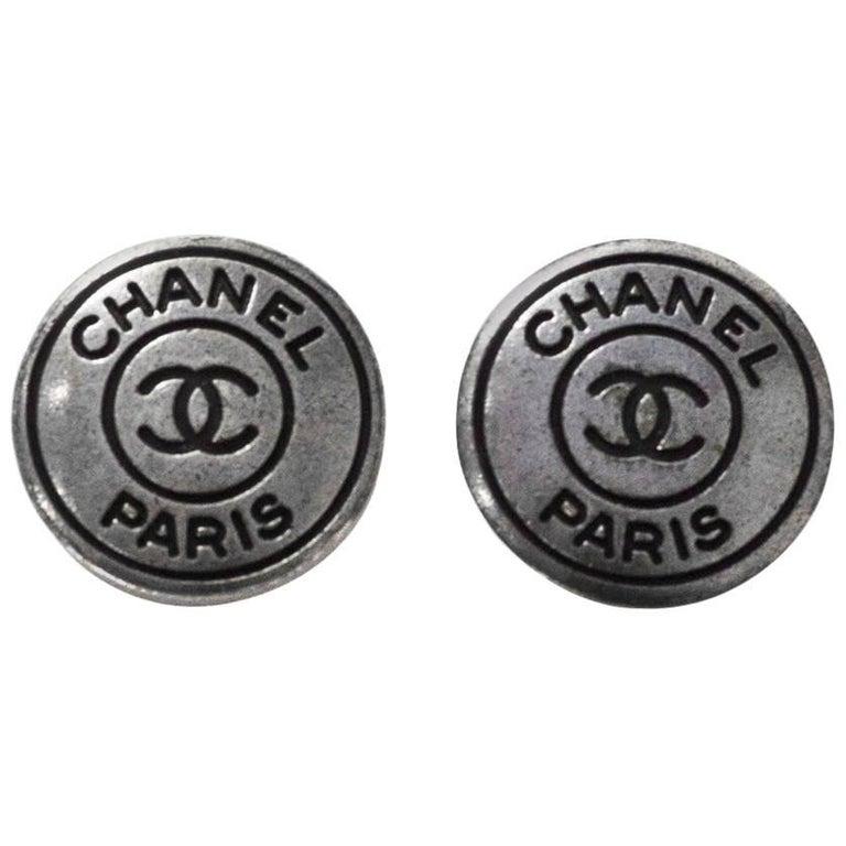 Chanel Antiqued Silver & Black CHANEL PARIS CC 20mm Buttons