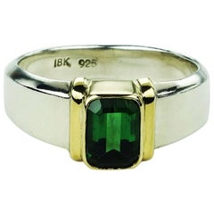 Deep Blue-Green Tourmaline in Sterling Silver Ring with 18k Gold Accents