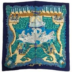 Hermes Le Paradis du Roy by Annie Faivre 1989 silk twill scarf 35 x 35