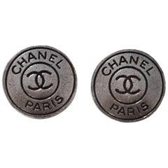 Chanel Antiqued Silver & Black CHANEL PARIS CC 18mm Buttons