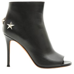 GIVENCHY Open Toe High Heels Boots in Black Leather 36FR